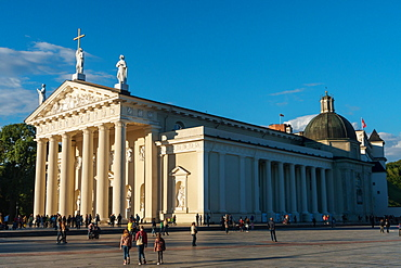 Facade and side of French Classicist style, Catholic Cathedral, visual recreation of a Greek temple, Vilnius, Lithuania, Europe