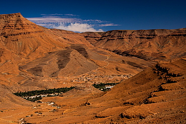 Aerial view of Ziz valley on the boundary of the High Atlas, Morocco, North Africa, Africa