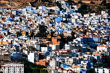 Close-up aerial cityscape of Chefchaouen, known as the Blue City, set in the Rif Mountains, Morocco, North Africa, Africa