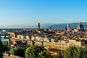 Aerial view in afternoon sun of Florence from Piazzale Michelangelo, Tuscany, Italy, Europe