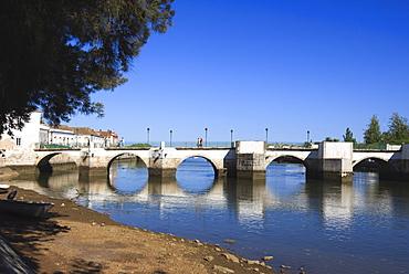 Ponta Romana (Roman Bridge) over River Gilao, Tavira, Algarve, Portugal, Europe