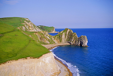 Durdle Door, an arch of Purbeck limestone on the coast, Dorset, England, UK