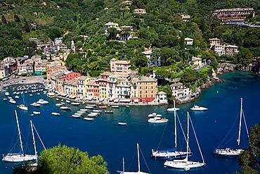 Aerial view, Portofino, Liguria, Italy, Europe