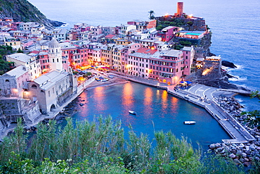 High angle view of Vernazza, Cinque Terre, UNESCO World Heritage Site, Liguria, Italy, Europe