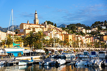 Old town of Menton and marina, Alpes-Maritimes, Provence-Alpes-Cote d'Azur, French Riviera, France, Europe
