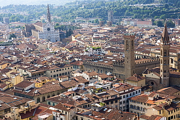 Aerial view from Giotto belltower of Duomo and Basilica of Santa Croce, Florence, UNESCO World Heritage Site, Tuscany, Italy, Europe