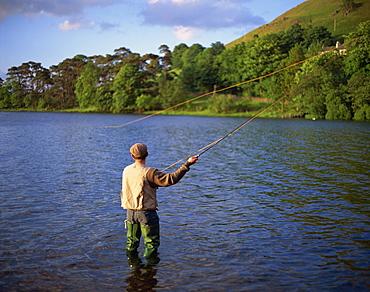 Fly fishing on the River Dee, Grampians, Scotland, United Kingdom, Europe