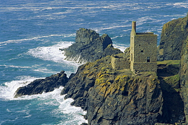Tin mine on coast, Botallack, Cornwall, England, UK, Europe