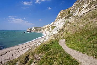 Coast path and beach, St. Oswald's Bay, Dorset, England, United Kingdom, Europe