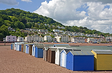 Teignmouth beach huts and Shaldon, South Devon, England, United Kingdom, Europe