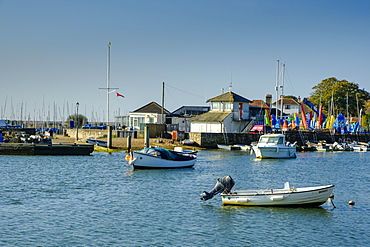 Boats moored in Keyhaven Harbour and Sailing Club onshore, Keyhaven, Hampshire, England, United Kingdom, Europe
