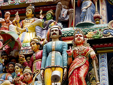 Sri Mariamman Hindu Temple exterior detail, Singapore, Southeast Asia, Asia