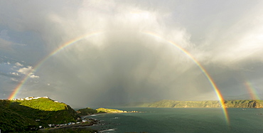 Rainbow over Breaker Bay in Wellington, New Zealand, Oceania