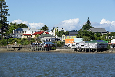 Rawene town from the ferry on the Hokianga, Northland, North Island, New Zealand, Pacific