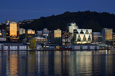 Wellington city and waterfront at dawn, Wellington, North Island, New Zealand, Pacific