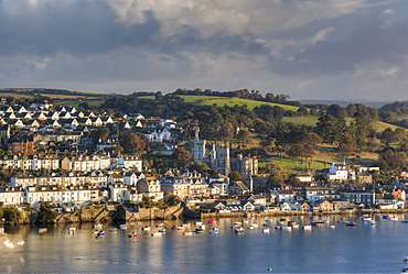 Fowey town and harbour, viewed from Polruan, Cornwall, England, United Kingdom, Europe