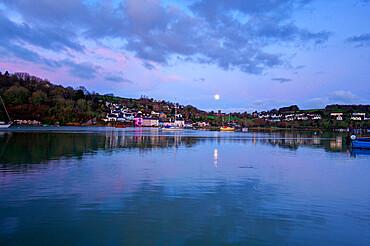 Moon reflected in the River Dart, Dittisham, South Devon, England, United Kingdom, Europe
