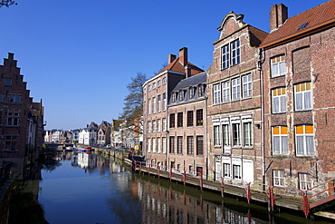 Old buildings line the river in Ghent, East Flanders, Belgium, Europe