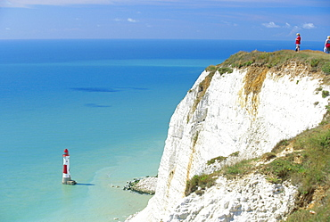 Beachy Head and lighthouse on chalk cliffs, East Sussex, England, UK, Europe