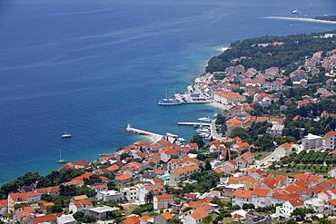 High view of Bol and harbour, Brac Island, Dalmatian Coast, Croatia, Europe
