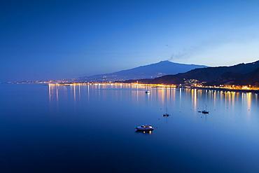 Mount Etna and Giardini Naxos at dusk, Sicily, Italy, Mediterranean, Europe