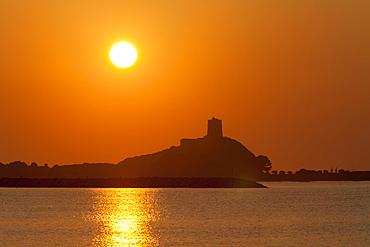 Nora sunrise over harbour, near Pula, Cagliari Province, Sardinia, Italy, Mediterranean, Europe