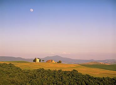 Chapel and moon, near Pienza, Siena Province, Tuscany, Italy, Europe
