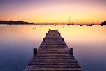Wooden jetty at dawn, sunrise, long exposure, Corsica, France, Mediterranean, Europe