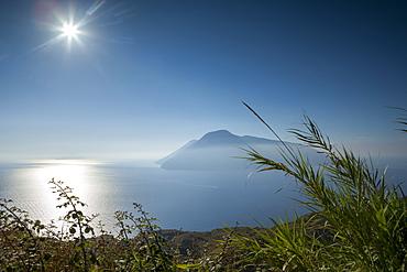 View of Salina from Lipari, Aeolian Islands, Italy, Mediterranean, Europe