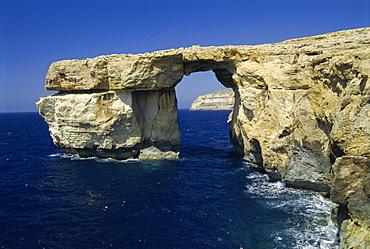 Natural bridge close to Dwejra Bay, Gozo, Malta, Mediterranean, Europe