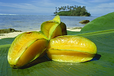 Star fruit on palm leaf, Rarotonga, Cook Islands, Pacific Islands, Pacific