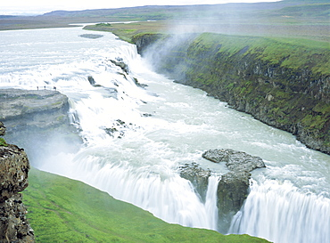 Gullfoss, or Golden Waterfall, this double waterfall was saved from development for hydroelectric power in 1907, Gullfoss, Iceland
