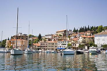 Old villas in picturesque historic medieval fishing village around Mandrac harbour in Preluka Bay, Opatija riviera on Kvarner Gulf coast, Volosko, Istria, Croatia, Europe