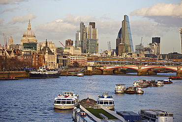 London skyline and River Thames from Waterloo Bridge, London, England, United Kingdom, Europe