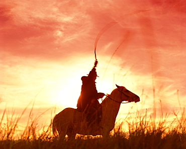 Profile of a stockman on a horse against the sunset, Queensland, Australia, Pacific