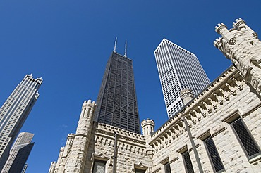 The Water Tower with Hancock Building in background, Chicago, Illinois, United States of America, North America