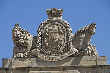 Coat of arms on the Grand Master's Palace, Valletta, Malta, Europe