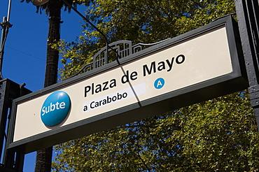 Subway sign, Plaza de Mayo, Buenos Aires, Argentina, South America