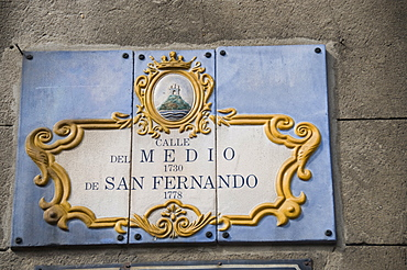 Colourful street sign, Montevideo, Uruguay, South America