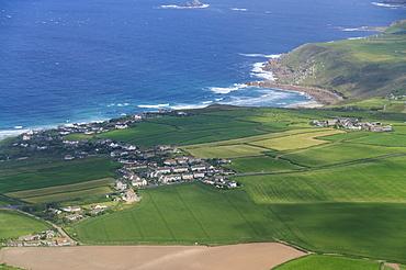 Aerial shot of Penzance area, Cornwall, United Kingdom, Europe