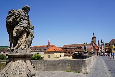 Statues on the Old Main Bridge,Wurzburg, Bavaria, Germany, Europe