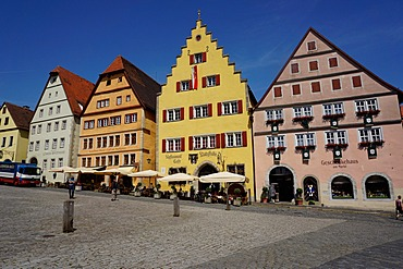 The market Square, Rothenburg ob der Tauber, Romantic Road, Franconia, Bavaria, Germany, Europe