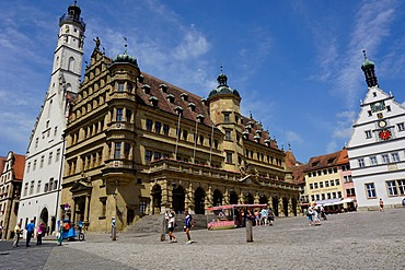 The double town hall in the market square in Rothenburg ob der Tauber, Romantic Road, Franconia, Bavaria, Germany, Europe
