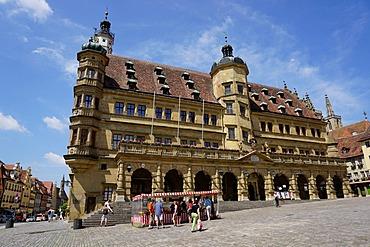 The town hall, Rothenburg ob der Tauber, Romantic Road, Franconia, Bavaria, Germany, Europe