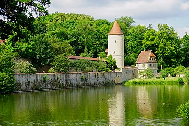 Tower and old city walls, Dinkelsbuhl, Romantic Road, Franconia, Bavaria, Germany, Europe