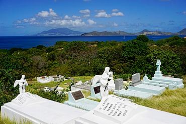 Graveyard at S. Thomas Anglican Church built in 1643, Nevis, St. Kitts and Nevis, Leeward Islands, West Indies, Caribbean, Central America