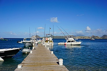 Dock at Oualie Beach, Nevis, St. Kitts and Nevis, Leeward Islands, West Indies, Caribbean, Central America