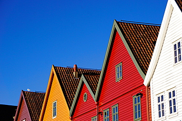 Traditional wooden Hanseatic merchants buildings of the Bryggen, UNESCO World Heritage Site, Bergen, Hordaland, Norway, Scandinavia, Europe