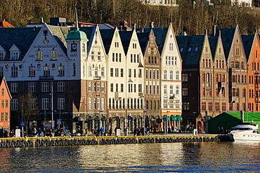 View on the harbour in Bryygen area, Bergen, Hordaland, Norway, Scandinavia, Europe