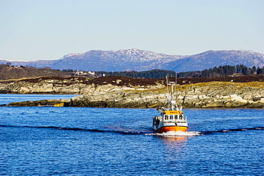 Fishing boat in Fjord, near Bergen, Hordaland, Norway, Scandinavia, Europe